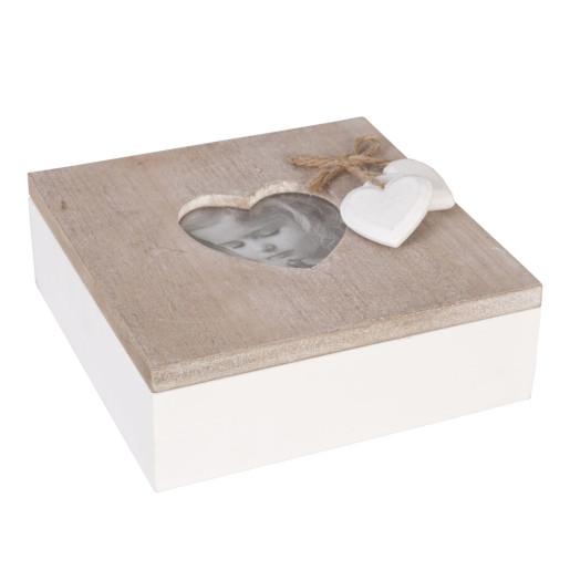 Cutie bijuterii cu rama foto lemn natur alb Heart 15 cm x  15 cm