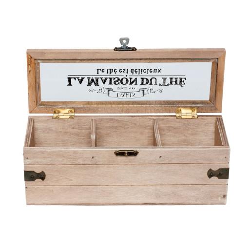 Cutie din lemn vintage pentru ceai 3 compartimente 22 cm x 8 cm x 8 cm