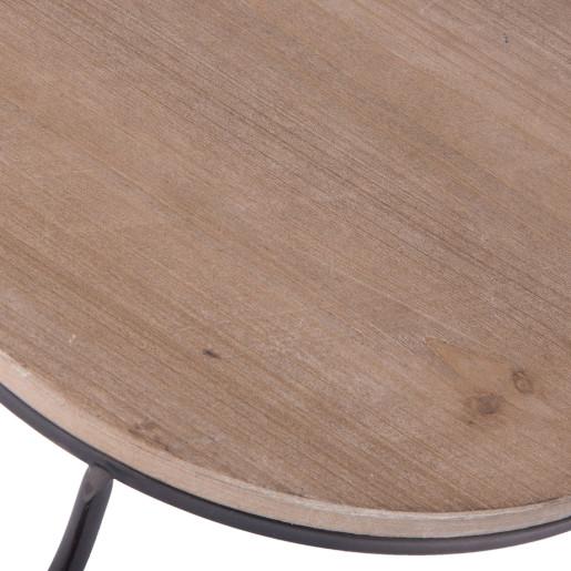 Platou cu blat lemn si cadru fier forjat 35 cm x 33 cm x 29 cm