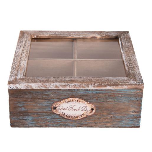 Cutie din lemn vintage pentru ceai 4 compartimente 18x18x7 cm