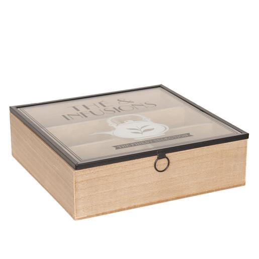 Cutie ceai lemn natur negru 6 compartimente cm 24 x 24 cm x 7 H