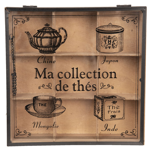 Cutie ceai lemn natur negru 9 compartimente cm 24 x 24 cm x 7 H