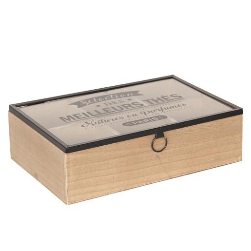 Cutie ceai lemn natur negru 6 compartimente cm 24 x 16 cm x 7 H