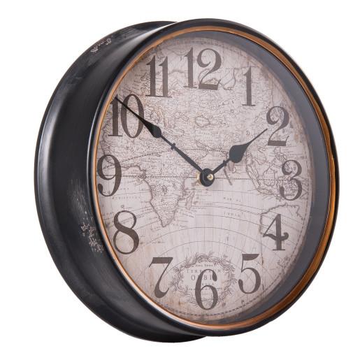 Ceas perete metal vintage model glob pamantesc Ø 31x8 cm