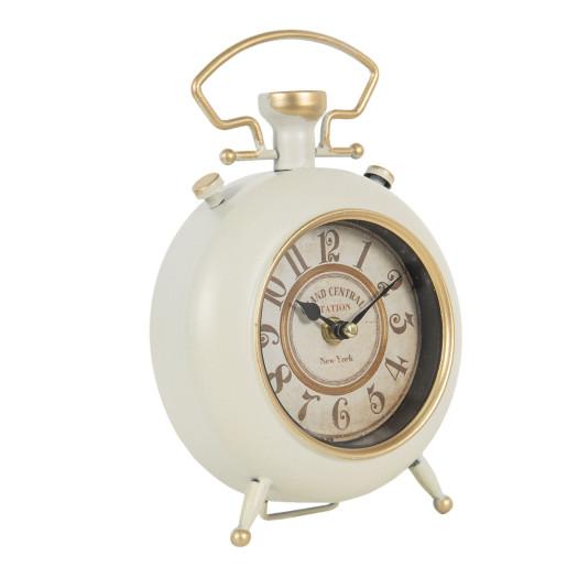 Ceas desteptator de masa metal alb auriu 16 cm x 6 cm x 24 cm