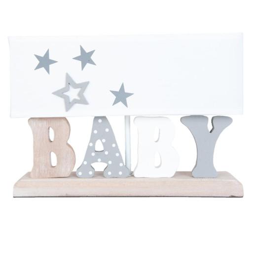 Veioza decorativa lemn textil Baby 35x12x24 cm E27