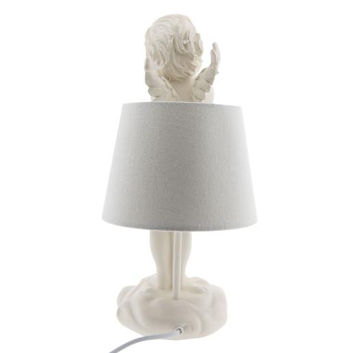 Veioza decorativa bej polirasina textil model Inger Ø 20 cm x 40 h / E27