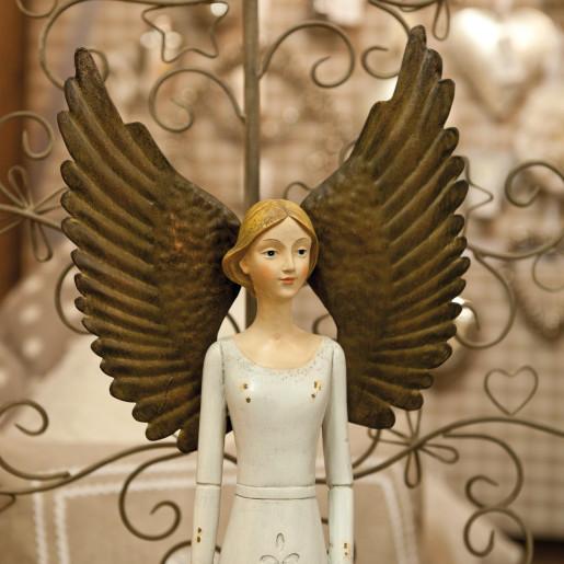 Inger crem vintage decorativ polirasina cu aripi metalice 23x14x56 cm