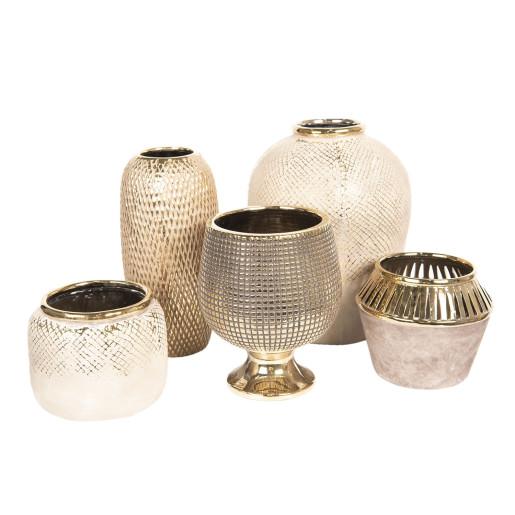 Vaza decorativa ceramica auriu Ø 17 cm x 21 cm