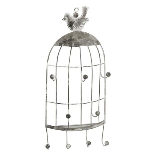 Cuier metal argintiu suspendabil Bird 14x5x31 cm