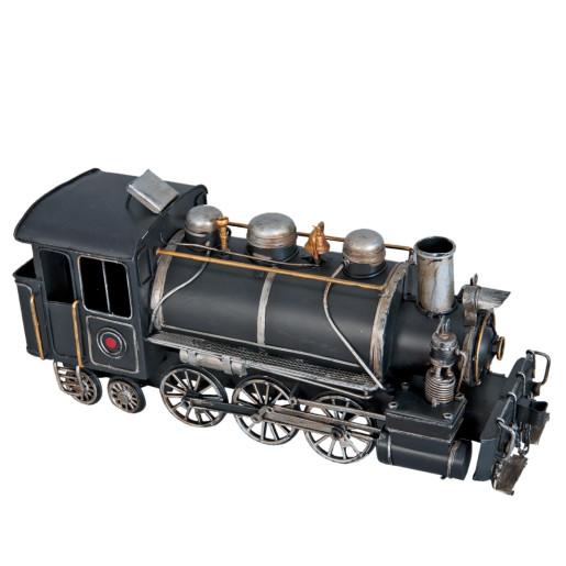 Macheta locomotiva tren retro metal negru 34x12x17 cm