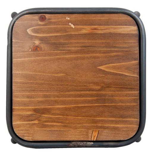 Taburet cu picioare din fier negru si sezut din lemn maro 40 cm x 40 cm x 46 h