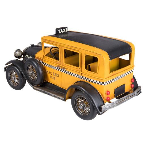 Macheta masina Taxi retro galben negru 32 cm x 15 cm x 15 cm