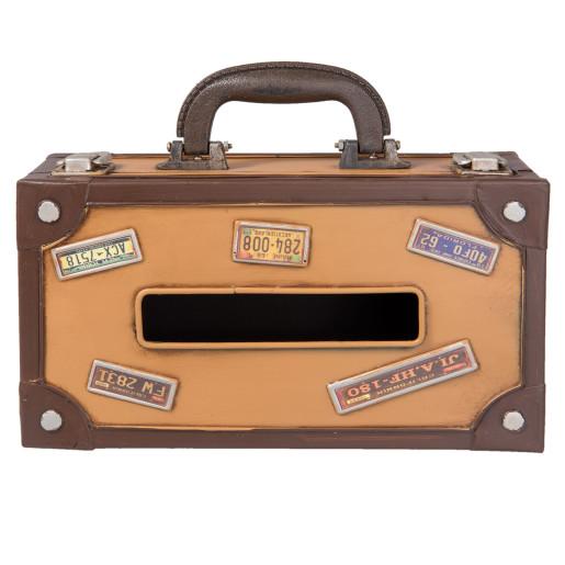Cutie servetele metal maro model Valiza Retro cm 25 x 15 cm x 9 H