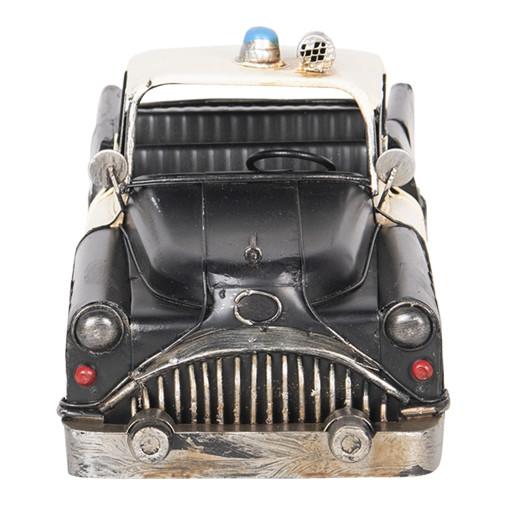 Macheta masina Politie retro metal negru crem 33 cm x 13 cm x 13 cm