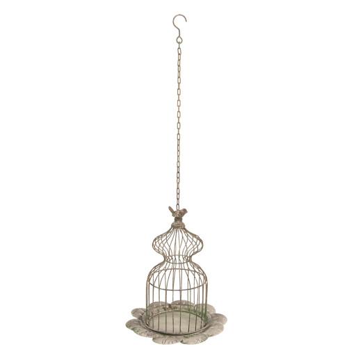Colivie metal maro vintage suspendabila Bird Ø 34 cm x 41 cm