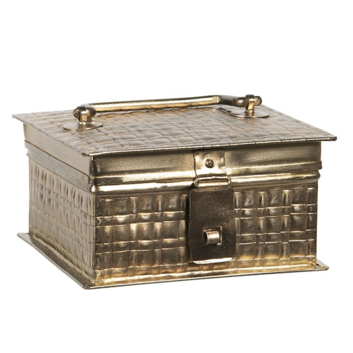 Caseta pentru bijuterii din metal auriu antic 14 cm x 14 cm x 8 h