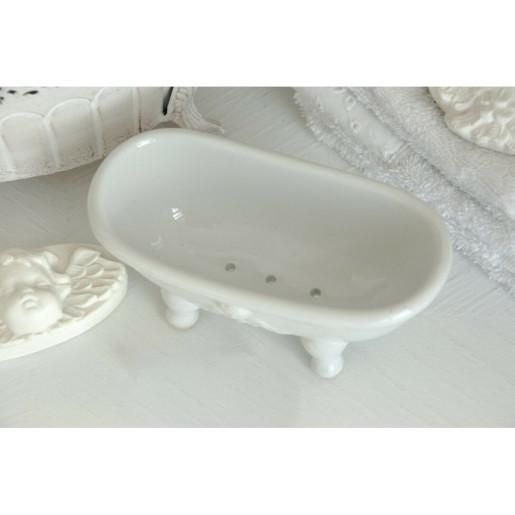 Savoniera ceramica alba 14 cm x 7 cm x 6 cm