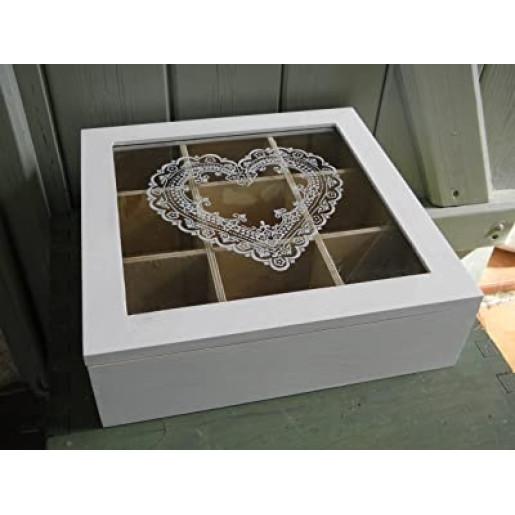 Cutie lemn alb 9 compartimente Tea 24 cm  x 24 cm 7 cm