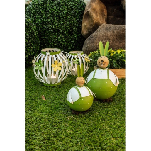 Suport lumanare metal alb verde Amelie 17 cm x 17 cm x 15h