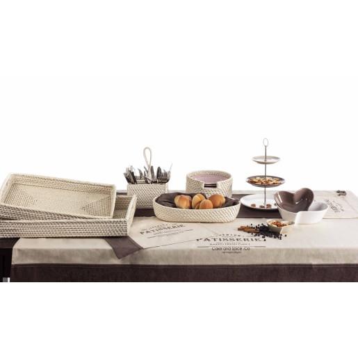 Platou ceramica maro alb 3 etaje Elegance Ø26x38h