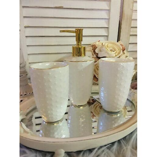 Pahar pentru baie ceramica alb auriu  Ø 7 cm x 12 cm