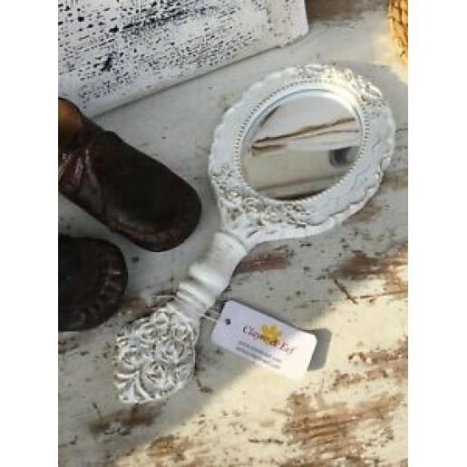 Oglinda de mana alba vintage Roses 13 cm x 29 cm
