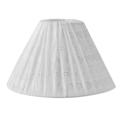 Abajur veioza textil alb brodat Ø 30x18 cm