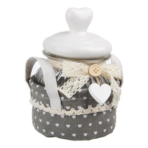 Borcan ceramic decorativ condimente alb gri 12x12x17h