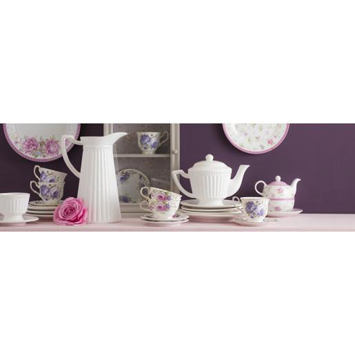 Ceainic ceramica alb patinat 26 cm x 14 cm x 18 cm 0.9 L