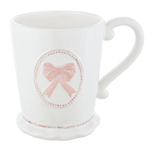 Cana ceramica alba Bow Pink 13*9*10 cm - 0,3L