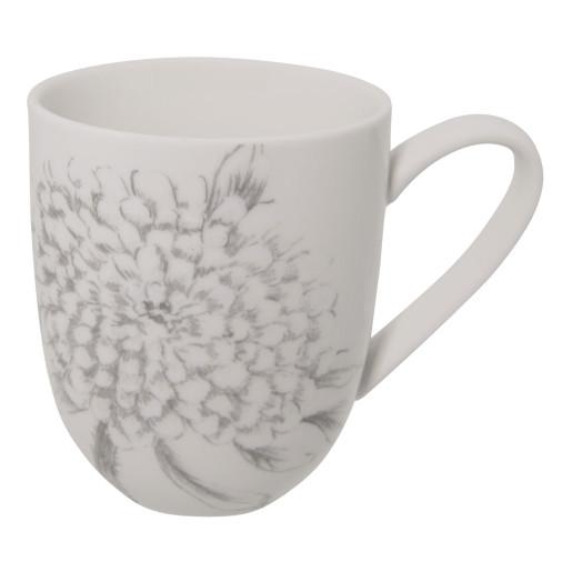 Cana ceramica alba Flowers 11x8x9 cm