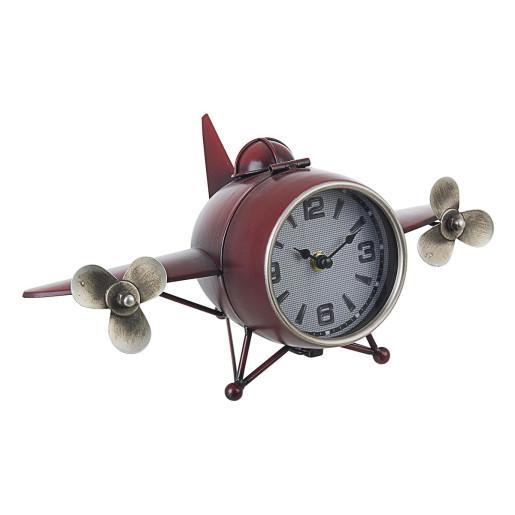 Ceas de masa metal rosu model Avion 36 cm x 19 cm x 16 h