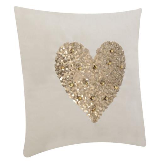 Perna decor crem cu paiete aurii Hearts 42 cm x 42 cm