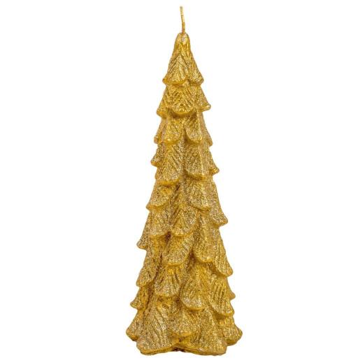 Lumanare decorativa brad auriu 24 cm