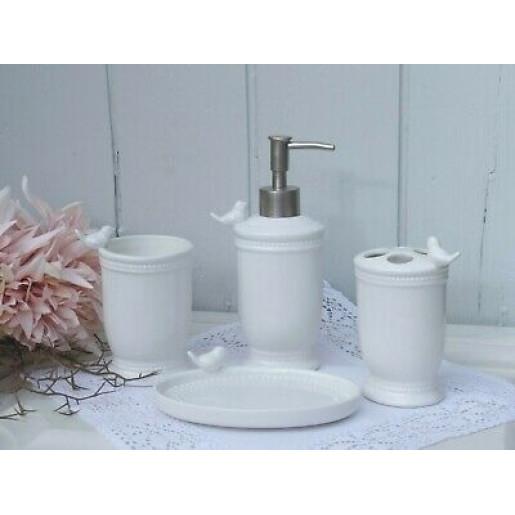 Set baie ceramica alba 4 piese Bird 26x10 cm