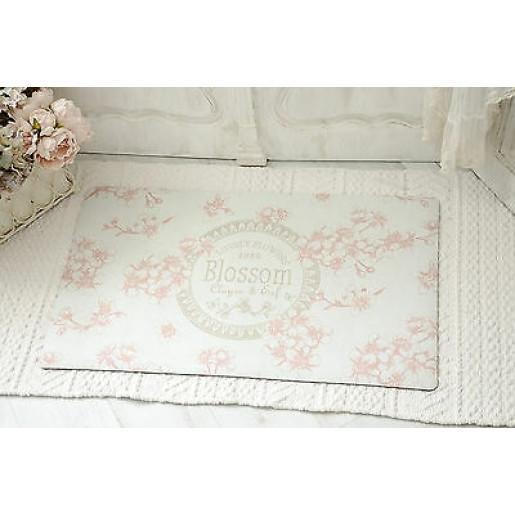 Covoras intrare alb roz model flori de cires 74 cm x 44 cm
