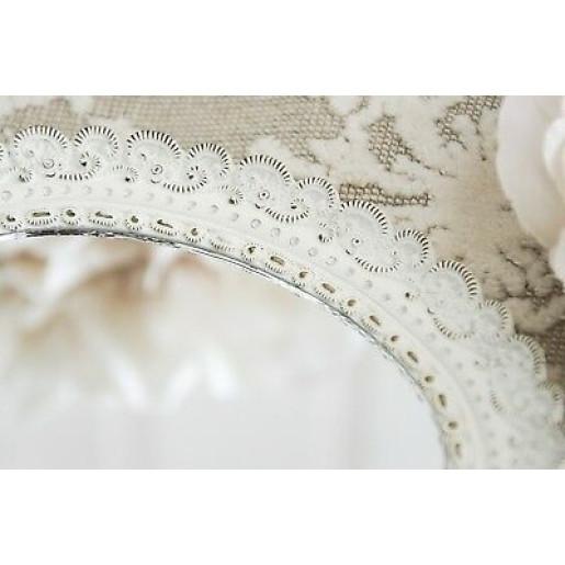 Oglinda de mana polirasina alba vintage Roses 12 cm x 25 h