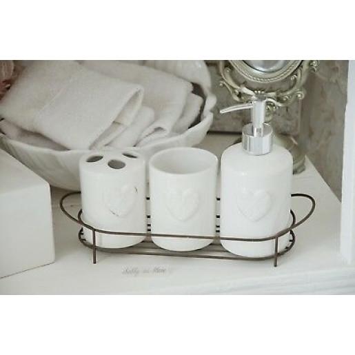 Set baie ceramica alba Cuore 4 piese