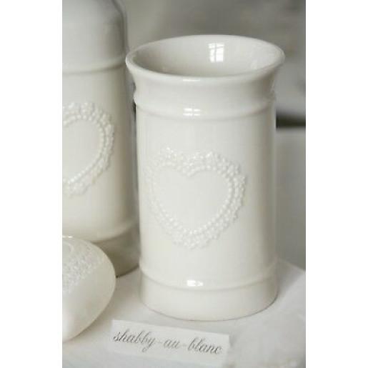 Set baie ceramica alba 4 piese Heart 26x10 cm