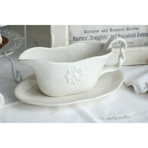 Bol servire cu farfurie ceramica alba 23 cm x 15 cm x 10 cm 0,3L