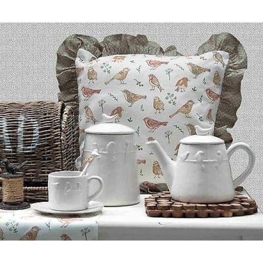 Borcan ceramica alb Bird 14*14*20 cm