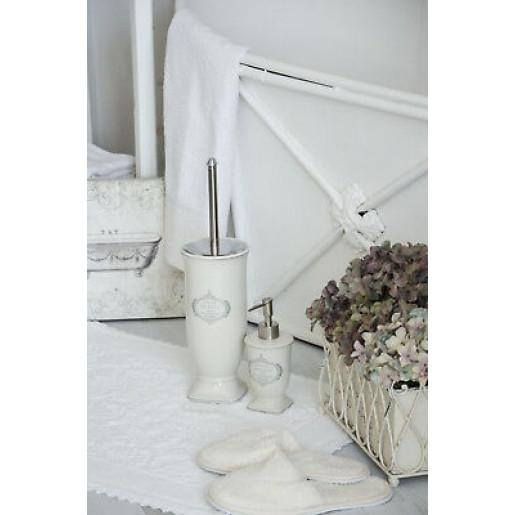 Perie toaleta ceramica alb gri Salle de Bain Ø 12 cm X 26 cm