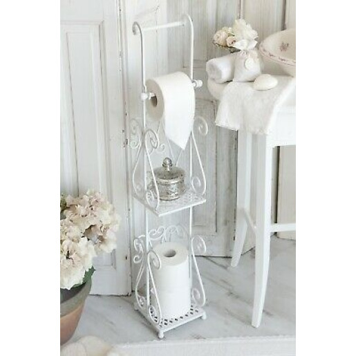 Suport fier forjat alb hartie igienica Elegance 17 cm x 17 cm x 97 cm