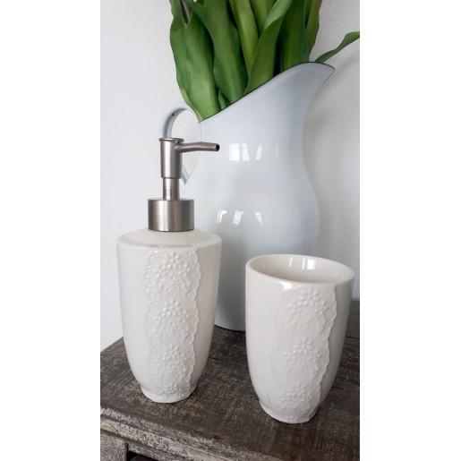 Pahar ceramica alba periute dinti Flowers Ø 7x10 cm