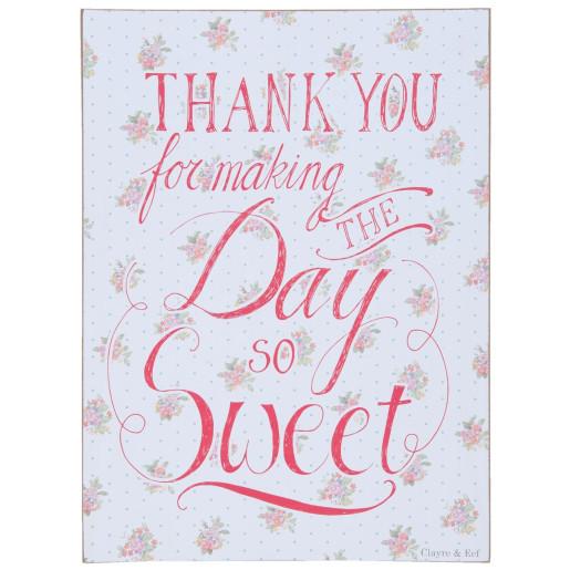 Tablou suspendabil cu mesaj motivational Thank You 30 cm x 40 cm
