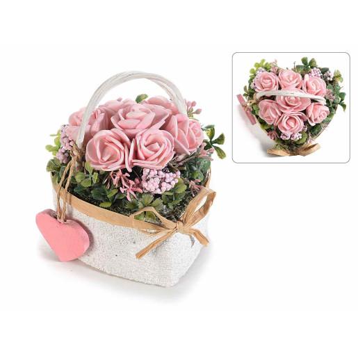 Aranjament cu trandafiri artificiali model inima roz verde 9 cm x 9 cm x 9 cm H