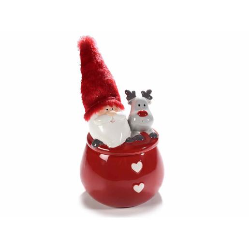 Borcan Mos Craciun ceramic rosu alb gri cu capac decorativ Ø13 cm x 24 H