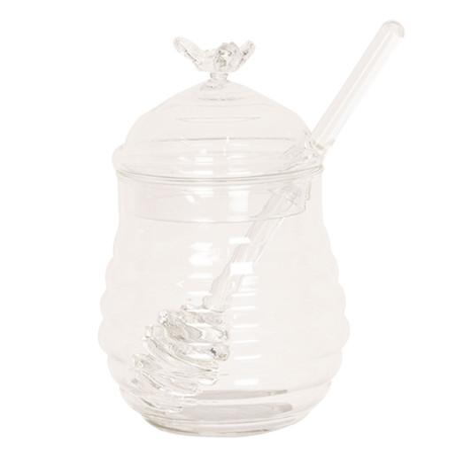 Borcan sticla decorativ pentru miere Ø 8 cm x 12 cm