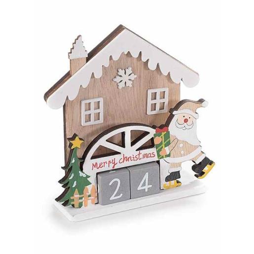 Calendar Craciun din lemn 11x4x11 cm